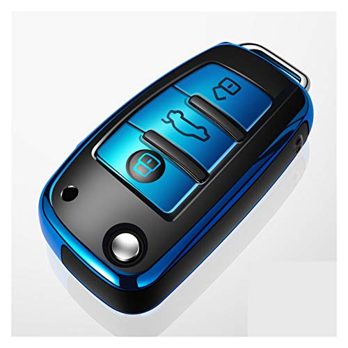 XIAOSHI Little Oriental 2003-2015 Car Key Cassa Forma for l'Audi A1 A3 A4 A5 A6 A7 A8 Quattro Q3 Q5 Q7 R8 Allroad C5 C6 TT S3 S5 S6 S4 Rs5 RS6 Holder Shell riguarda (Color Name : Blue)