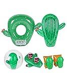 Manguitos 3-6 años + 2 Flotadores + Posavaso + Pelota hinchable para piscina y playa Pack Cactus