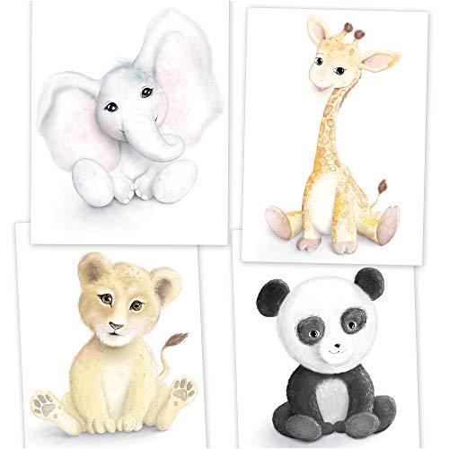 beriluDesign® Poster Kinderzimmer Deko 5er Set A4 für Mädchen und Junge - Kinder Bilder Babyzimmer