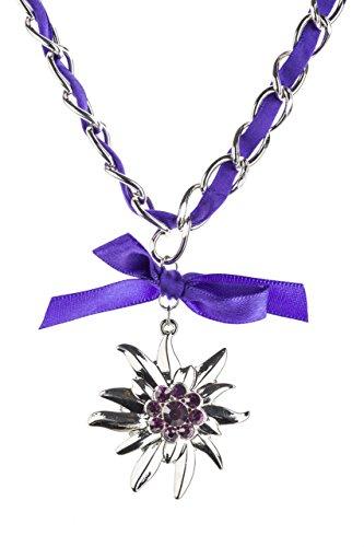 Trachtenkette Edelweiss mit Satinband Schleife und eleganten Gliedern Halskette für Dirndl und Lederhose (Lila)