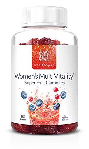 Women's Multivitamin Super Fruit Gummies | Healthspan | with Vitamin C & Vitamin D3 | Essential Micronutrients | Added Folic Acid | Biotin | Boosts Immunity | No Added Sugar (90 Gummies)