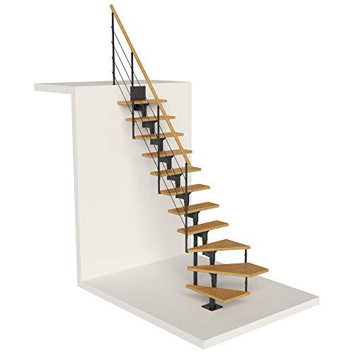 DOLLE Raumspartreppe Boston | 11 Stufen | Geschosshöhe 228 – 300 cm | ¼-gewendelt | Buche, lackiert | Unterkonstruktion: Anthrazit (RAL 7016) | volle Stufen 70 cm | inkl. Geländer | Nebentreppe