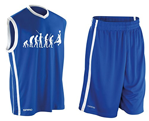 Coole-Fun-T-Shirts Basketball - Evolution ! Trikot Tank mit Hose Shirt Blau Gr.XXXL