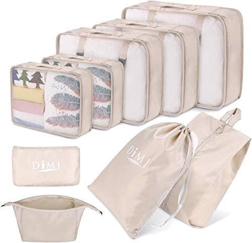 cubi da viaggio, set di 9 cubi di imballaggio organizer valigia essential organizer borse da viaggio pieghevoli impermeabili sacchetto da viaggio leggero con borsa per cavi e borsa cosmet (Beige)