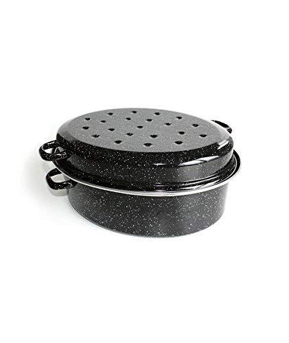 Beka 14720344 Kitchen Roc Daubière en acier émaillé noir moucheté 34 cm