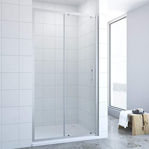 AQUABATOS® 120cm breit Duschtür Schiebetür mit Einfaches Rollen Befestigungssystem, Nischentür Nischenschiebetür Duschabtrennung Duschwand Glas Dusche aus 6mm ESG Echtglas Höhe 185cm
