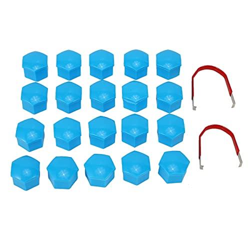 Nirmon 20Pcs Tapas De Plástico del Coche De 17 Mm Pernos Cubiertas Ruedas De Aleación para, Mercedes, Color: Azul