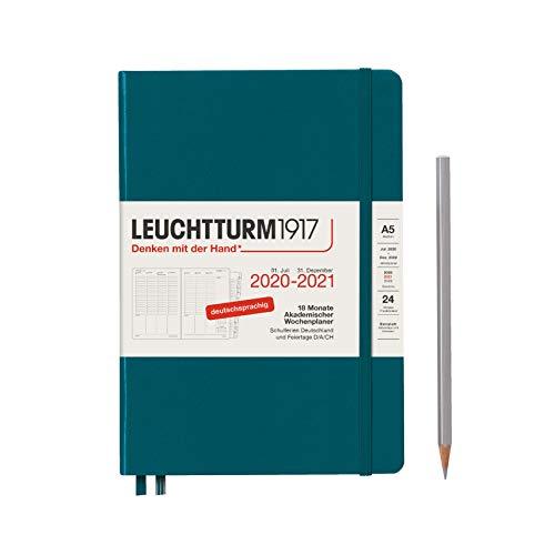 Akademischer Wochenplaner 2021 Hardcover Medium (A5), 18 Monate, Pacific Green, Deutsch
