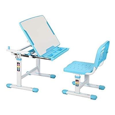 Diroan Kids Multifunctional Desk and Chair Set, Height Adjustable Children School Study Desk with Tilt Desktop, Metal Hook and Storage Drawer for Boys Girls (Blue)