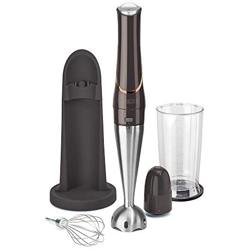 """CRUX Cordless Hand Immersion Blender, Durable 7.5"""" Blending Arm, Quickly Blend, Mix Smoothies, Easily Whip, Puree Sauces/Soups, Conveniently Rechargeable, Easy to Clean with Dishwasher Safe Removeable Parts, Stainless Steel/Black"""