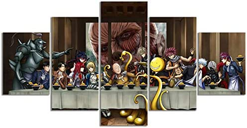 Anime The Last Supper Crossover Version Poster Attack On Titan Prints on Canvas Wall Art for product image