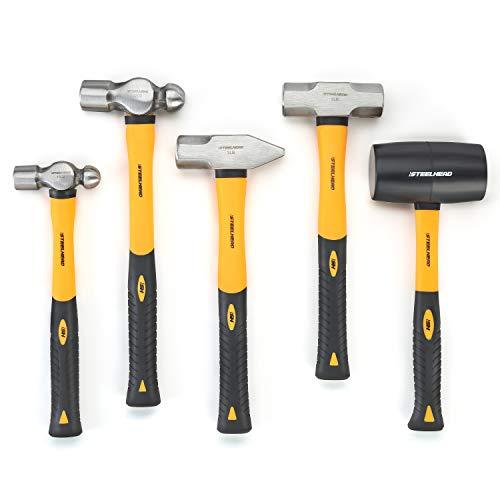 STEELHEAD 5-Piece Fiberglass Handle Hammer & Mallet Set, 16oz Ball-Peen Hammer, 32oz Ball-Pein Hammer, 32oz Rubber Mallet, 3lb Sledge Hammer, 3lb Cross-Pain Hammer, Metal Working, USA-Based Support