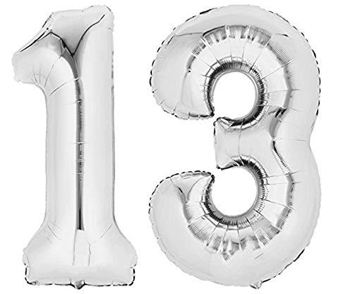 TopTen Folienballon Zahl 13 XL Silber - Zahlenballon für Ihre Geburstagsparty, Jubiläum oder sonstige feierliche Anlässe (Zahl 13)