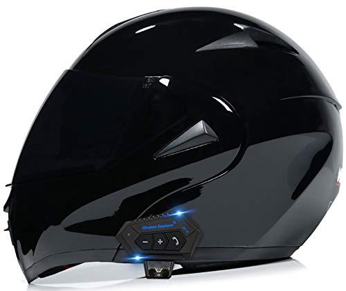 Allround Helmets Casco De Motocicleta Modular Casco De Motocicleta Bluetooth Multifuncional, Micrófono Incorporado para Auriculares Auriculares para Respuesta Automática,ECE Homologado 6,L