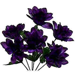Floral Décor Supplies for 6 Head 3″ Dahlia Artificial Silk Flowers Wedding Bouquet Centerpiece Fake Faux for DIY Flower Arrangement Decorations – Color is Purple