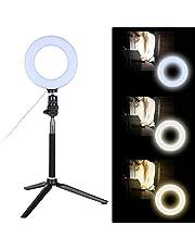6-calowa ściemnialna lampa pierścieniowa LED ze stojakiem na statyw do nagrywania wideo makijażu na żywo, lampka pierścieniowa do selfie na smartfon/zdjęcie