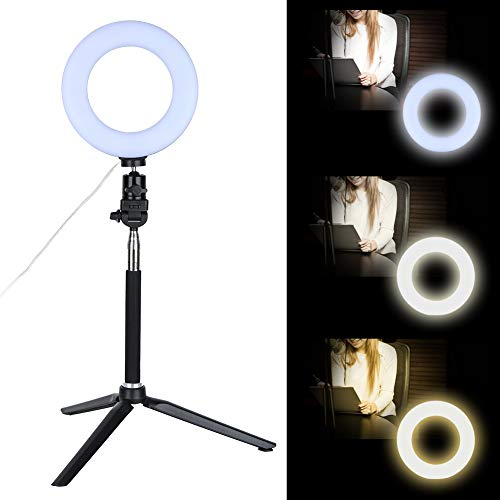Ringslicht, 6 inch (6 inch), led-videogolicht, dimbaar led-flitslicht met standaard voor video, live camera, make-up, selfie, live streaming video-opnames voor Youtuber Vlog blogger live stream opmaken