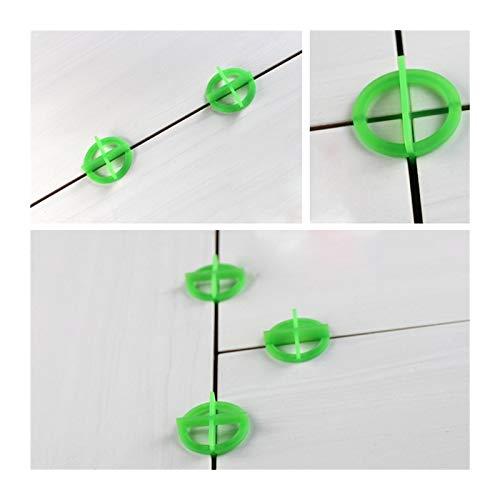 XYXXBB 100pcs Verde Transversal de Azulejos de baldosas Espaciador nivelación de baldosas de plástico reciclable Sistema de nivelación (Color : 1.5mm)