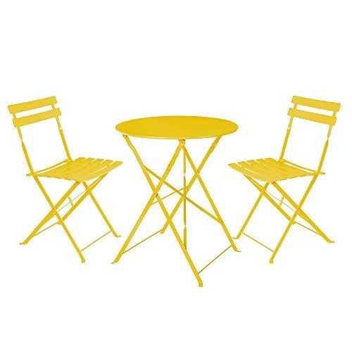 LOLAhome Conjunto de Mesa y 2 sillas para Exterior de Acero (Amarillo)