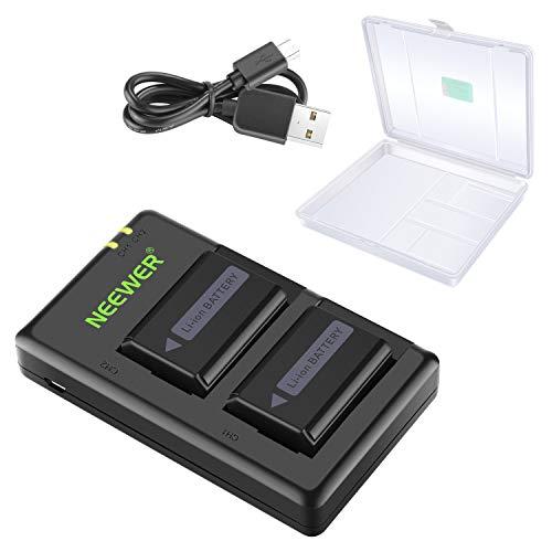 Neewer NP-FW50 Set Cargador Batería para Cámara con Estuche Batería Compatible con Sony A6000 A6500 A6300 A6400 A7 A7II A7RII A7SII A7S A7S2 A7R A7R2 A55 A5100 RX10 (2 Pack, Micro USB, 1100mAh)