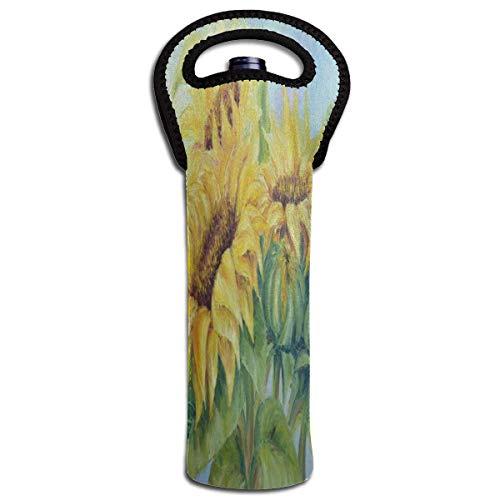 Rode Wijn Sets Schilderij Gouden Zonnebloem Art Beschermende Champagne Tas Fles Houder Tas Geïsoleerde Gewatteerde