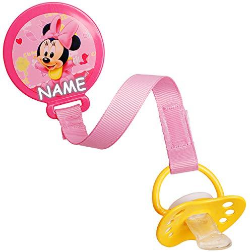 alles-meine.de GmbH 2 Stück _ Schnullerketten / Schnullerhalter - mit Clip & Stoffband - Disney - Minnie Mouse - inkl. Name - BPA frei - Klett - rosa pink Kette - Stoff - Schnull..