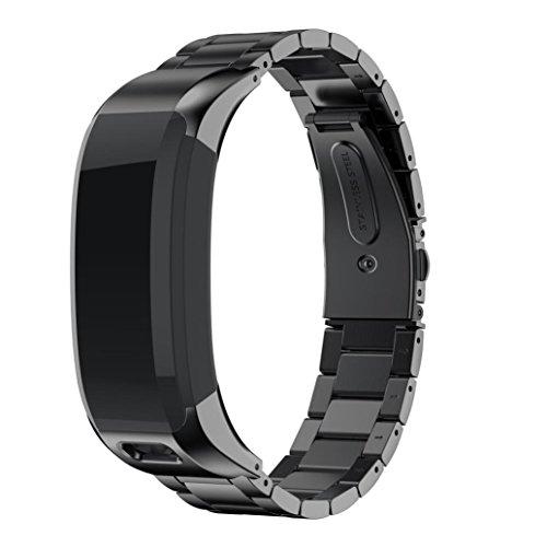 Zolimx Sólido Acero Inoxidable Accesorios Reloj Banda Correa Bandas Metálicas para Garmin Vivosmart HR (Negro)
