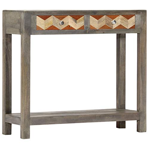 vidaXL Solid Mango Wood Console Table Side Cabinet Stand Hallway Entryway Side End Table Drawer Cabinet Organiser Display Telephone Grey 86x30x76cm