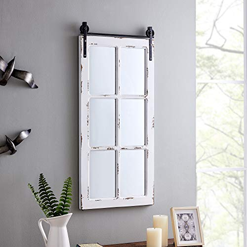 FirsTime & Co. Saddlebrook Farmhouse Window Mirror, American Crafted, Aged White, 17 x 1 x 36