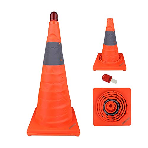 Annurssy 28 inch Collapsible Traffic Cone with LED Light Multi-Function Pop-up Reflective Traffic Safety Cone