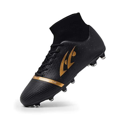 Zapatos de fútbol Masculino Uñas largas Escuela Primaria Estudiantes Niños Adolescentes Zapatos de Entrenamiento de Hierba Artificial Transpirables Negro 44 9.5
