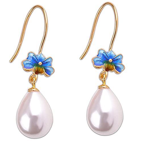CHXISHOP Pendientes de plata de ley 925 para mujer, perlas de agua dulce, de calidad perfecta