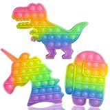 VOFOLEN 3 Pizzas Pop Push It Bubble Juguete sensorial Fidget, Juguetes antiestrés para apretar arcoíris para niños, Dinosaurio de Caramelo, Robot y Unicornio