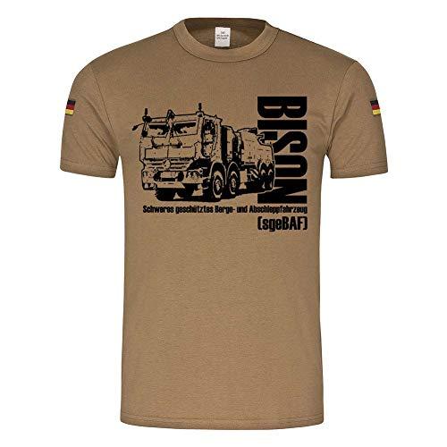 BW Tropen sgeBAF Bison Bundeswehr schwere geschütztes Berge Abschlepp-Fahrzeug Pionier BTL LKW T-Shirt #24358, Größe:XL, Farbe:Khaki