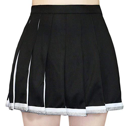Danzcue Falda plisada de animadora para adulto, Negro/Blanco, M