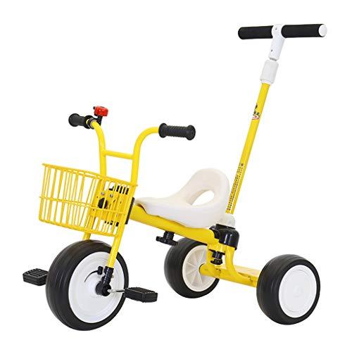 WENJIE Triciclo Infantil 2 En 1 Carro Infantil Bicicleta for Bebés De 1-3-5-6 Años Cochecito De Regalo De Cumpleaños for Niños Coche De Juguete (Color : Yellow)
