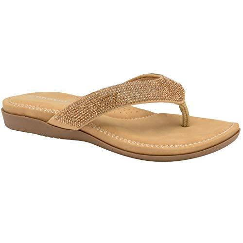Dunlop Frauen Zehentrenner Neu Damen Memory Foam Zehentrenner Ohne Bügel Strand Sandalen - Gold, UK Size 7 - EU 40 - US 10