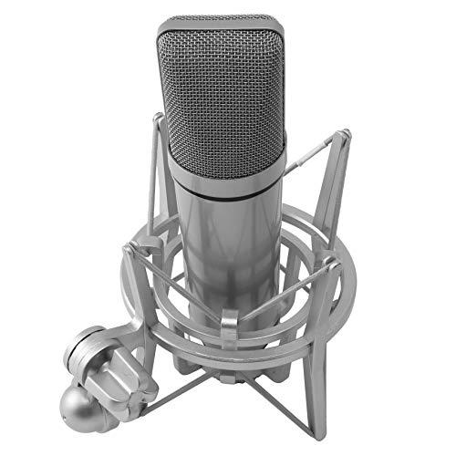 Gfhrisyty U87 - Micrófono de voz, micrófono de condensador de metal, micrófono en vivo, color blanco