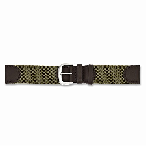 19mm Olive Army Style Nylon/leather Silver-tone Buckle Watch Band, Best Quality Free Gift Box