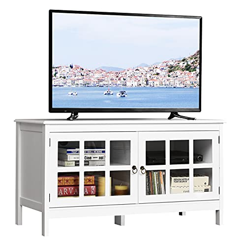 """Tangkula TV Stand, Modern Wood Large Wide Entertainment Center for TV up to 50"""", Living Room Media Console Cabinet Stand with 2 Doors (Black)"""