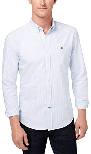 Tommy Hilfiger - Camisa de manga larga con botones para hombre, L, Raya Azul