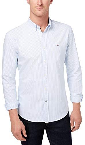 Tommy Hilfiger Men's Long Sleeve Solid Oxford Button Down Shirt in Custom Fit, BlueStripe, L