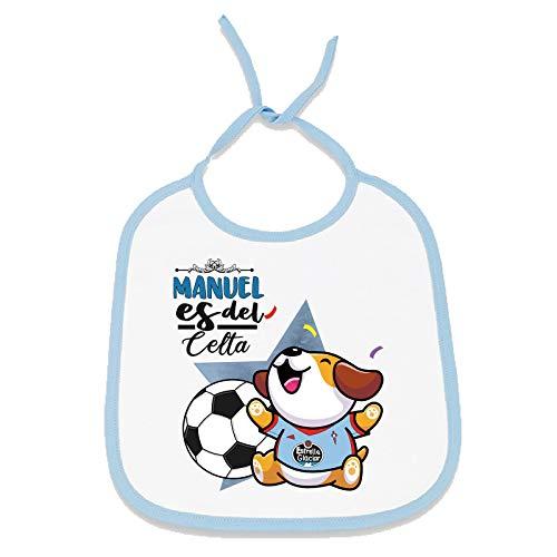 Babero personalizado nombre de bebé equipo de fútbol, niño y niña (RC Celta de Vigo, Niño)