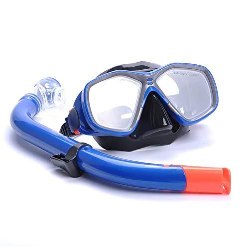 Sunbobo Traje de máscara Niños duraderos 3-14 Gafas de natación con Lente Templado Anti Niebla Half Dry Diving Snorkel Set Adecuado para Snorkeling (Color : Blue, Size : One Size)