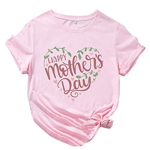 ZHANGXJ Camiseta de Manga Corta para el Día de la Madre con T Shirts Imprimir Gráfico de Corazón Algodón Ablandado Verano Casual Tops,para Mujer 2021 Camiseta Idea Regalo (Color : Pink S)