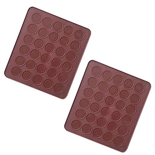 2 piezas 30 Macarons Molde de silicona 30 Tapete Macarons Antiadherente Macaron Molde Silicona Baking Mat Macaron para macarrones perfectos molde de silicona reutilizable, antiadherente marrón