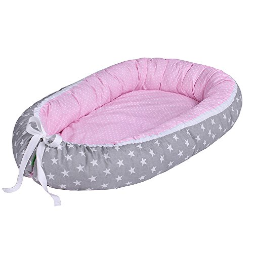 LULANDO Baby- Nest - Sleep Nest - Multifunctional Reversible Baby Cocoon, Farbe:White Stars/Dots Pink