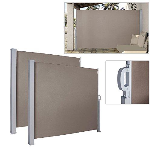 HG® 2x Toldo Lateral (160x 300cm Toldo Wind Protección UV extensible Toldo...