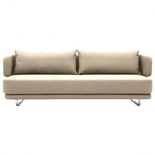 Jasper Schlafsofa, beige Stoff Filz 619 inkl. 2 Kissen Sofa- und Kissenbezug abziehbar