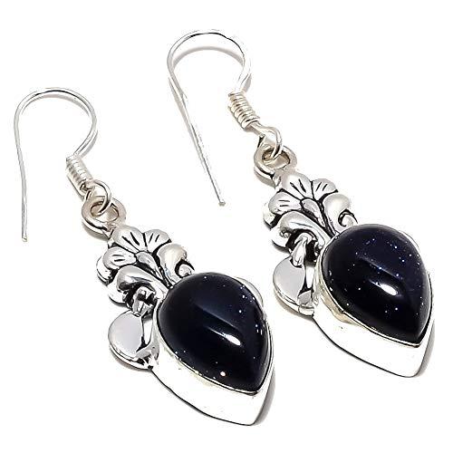 Pendiente negro SUNSTONE para niñas de 1,75 'de largo, chapado en plata oxidada, joyería artística hecha a mano, la mejor tienda de variedades